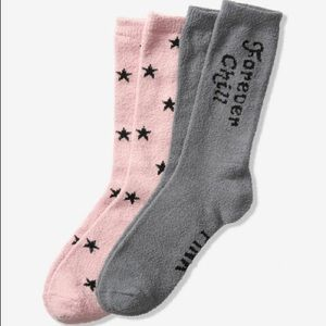 VS PINK MARSHMALLOW CREW SOCKS SET